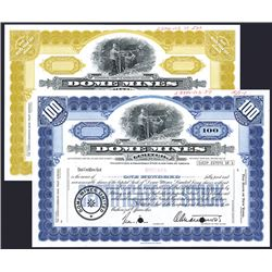 Dome Mines Ltd, 1960-70's Specimen Stock Certificate Pair.