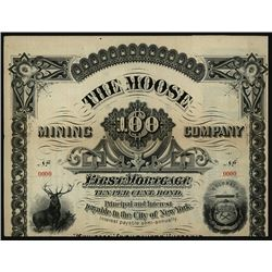Moose Mining Co. 1880 Specimen Bond.