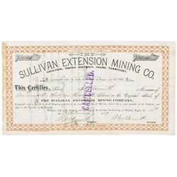 Sullivan Extension Mining Co., 1889  Stock Certificate