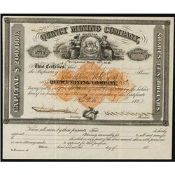 Quincy Mining Company of Michigan 1872 Stock Certificate With Imprinted Revenue.