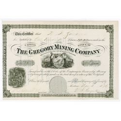 Gregory Mining Co., 1876 Issued Stock Certificate
