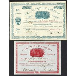 Algonquin Co. 1881 Mining Company Pair.