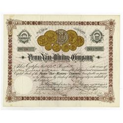 Penn-Yan Mining Co., 1891 Issued Stock Certificate