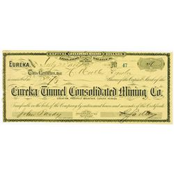 Eureka Tunnel Consolidated Mining Co., 1884 Issued Stock Certificate