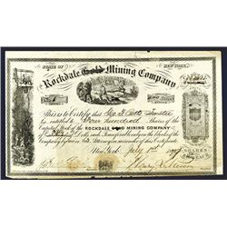 Rockdale Gold Mining Co., 1879 Stock Certificate.