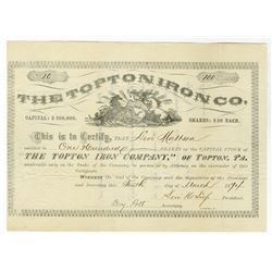 Topton Iron Co., 1874 Issued Stock Certificate
