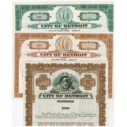 City of Detroit, ca.1930-1940 Specimen Bond Trio