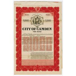 City of Camden, 1918 Specimen Bond