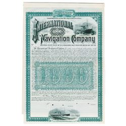 International Navigation Co., 1887 Specimen Bond, Predecessor Company to International Mercantile Ma