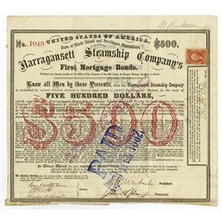Narragansett Steamship Co., 1869 Issued Bond Signed by Ambrose Burnside, Civil War General.