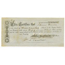 Franklin Canal Company (Authorized to Construct the lake Erie Rail road), ca.1840-1860 Issued Stock