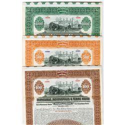 Evansville, Indianapolis & Terre Haute Railway Co., 1920 Specimen Bond Trio.