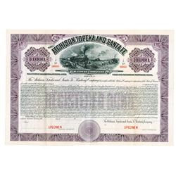 "Atchison, Topeka and Santa Fe Railway Co., 1912 ""California-Arizona Lines"" Specimen Bond"