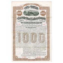 East Side Street Railway Company of Topeka, 1888 Specimen Bond