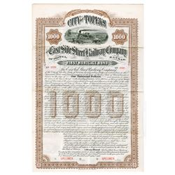East Side Street Railway Company of Topeka, 1888 Specimen Bond