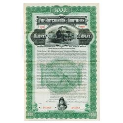 Hutchinson and Southern Railway Co., 1898 Specimen Bond