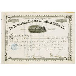 Kansas City, Emporia & Southern Railroad Co., 1880 Cancelled Stock Certificate