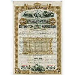 St. Louis, Kansas and Southwestern Railroad Co., 1886 Specimen Bond