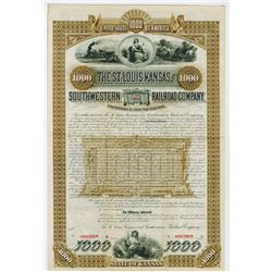 St. Louis, Kansas and Southwestern Railroad Co., 1886 Specimen Bond