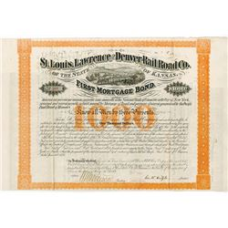 St. Louis, Lawrence and Denver Rail Road Co., 1870 Issued Bond.