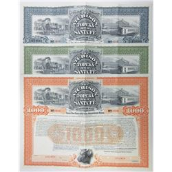 Atchison, Topeka and Santa Fe Railway Co., 1895 Trio of Specimen Bond