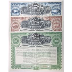 Atchison, Topeka and Santa Fe Railway Co., 1905 Trio of Specimen Bond