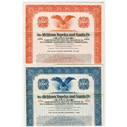 Atchison, Topeka and Santa Fe Railway Equipment Trust Pair of Specimen Bond 1937-1939