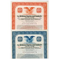 Atchison, Topeka and Santa Fe Railway Equipment Trust Pair of Specimen Bond 1937-1939