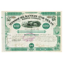 Kansas, Missouri and Texas Railway Co., 1880 Stock Certificate issued to Russell Sage.