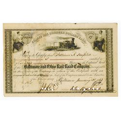 Baltimore & Ohio Rail Road Co., 1863 Stock Certificate Signed by John Hopkins as President.