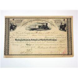 Baltimore & Ohio Rail Road Co., 1885 I/C Stock Certificate