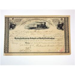 Baltimore & Ohio Rail Road Co., 1885 I/C Stock Certificate