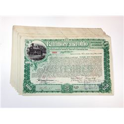 Baltimore & Ohio Rail Road Co., 1899 Group of 10 I/C Stock Certificates