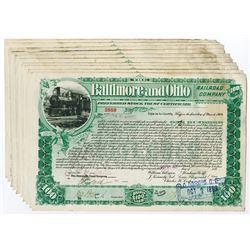 Baltimore & Ohio Rail Road Co., 1899 Group of 10 I/C Stock Certificates