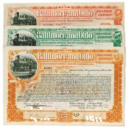 Baltimore & Ohio Rail Road Co., 1899 Group of 3 I/C Cancelled Stock Certificate.