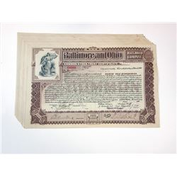 Baltimore & Ohio Rail Road Co., 1900 Group of 10 I/C Stock Certificates