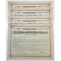 Baltimore & Ohio Railroad Co., 1906 Group of 4 I/C Warrant Certificates