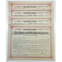 Baltimore & Ohio Railroad Co., 1906 Group of 4 I/C Warrant Certificates