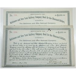 Baltimore and New York Railway Co., 1889 Pair of I/C Bonds