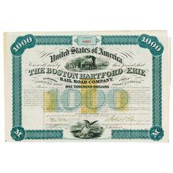 Boston Hartford and Erie Rail Road Co., 1867 Issued Bond Signed by John S. Eldridge