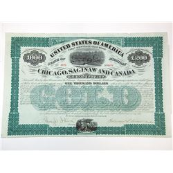 Chicago, Saginaw and Canada Railroad Co., 1873 Issued Bond