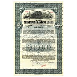 Minneapolis and St. Louis Railroad Co., 1917 Specimen Bond