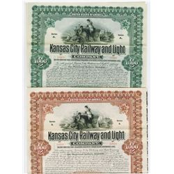 Kansas City Railway and Light Co., 1907 Specimen Bond Duo.