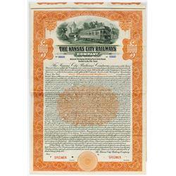 Kansas City Railways Co.,1915 $1000 Specimen Bond