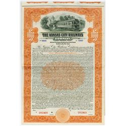 Kansas City Railways Co.,1915 $1000 Specimen Bond