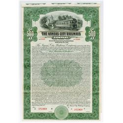 Kansas City Railways Co.,1915 $500 Specimen Bond