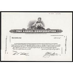Lionel Corporation 1961 Proof Stock Certificate.