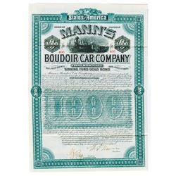Mann's Boudoir Car Co., 1886 Issued Bond Signed by William d'Alton Mann as President