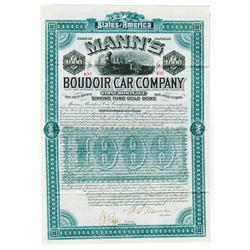 Mann's Boudoir Car Co., 1886 Issued Bond Signed by William d'Alton Mann as President