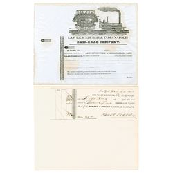 Mohawk & Hudson Railroad Co. & Lawrenceburgh and Indianapolis Rail-Road Co. Stock Certificates ca. 1